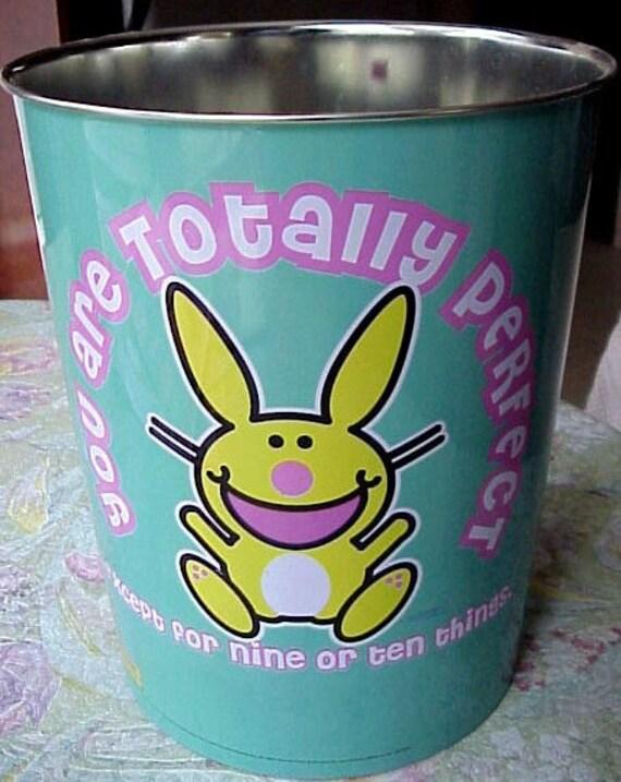 happy bunny  Trash Can / bucket  / tin can JIM BENTON