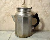 Rustic Coffee Percolator Metal and Glass 1930s