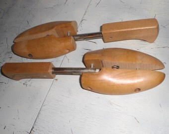 Two vintage shoe trees. Wood and metal.