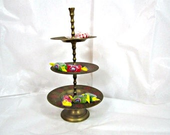 Vintage Brass Candy Tray Three Tier