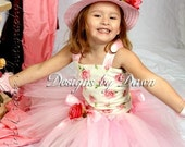 Custom Made Ivory and Pink Rose Dress. Corset top, tutu skirt, hairpiece, hat. 12m-5T Custom sizes available