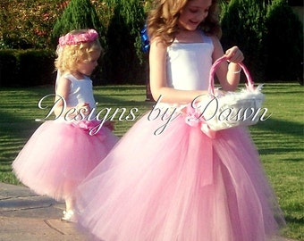 Flowergirl Dress. Mini Bride Dress. Corset top with tutu skirt. Custom sizes and colors available