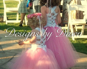 Flower girl Dress. Mini Bride Dress. Corset top with tutu skirt. Size 6m-12 Girls. Custom colors available