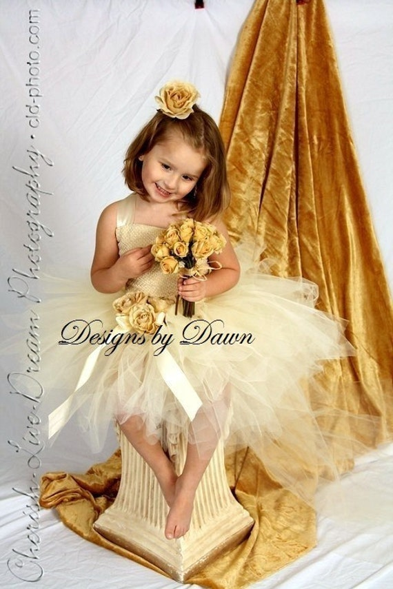 Custom Made Flowergirl Dress. Corset top with Ivory tutu skirt and hair clip. Size 12m-5T Custom sizes and colors available