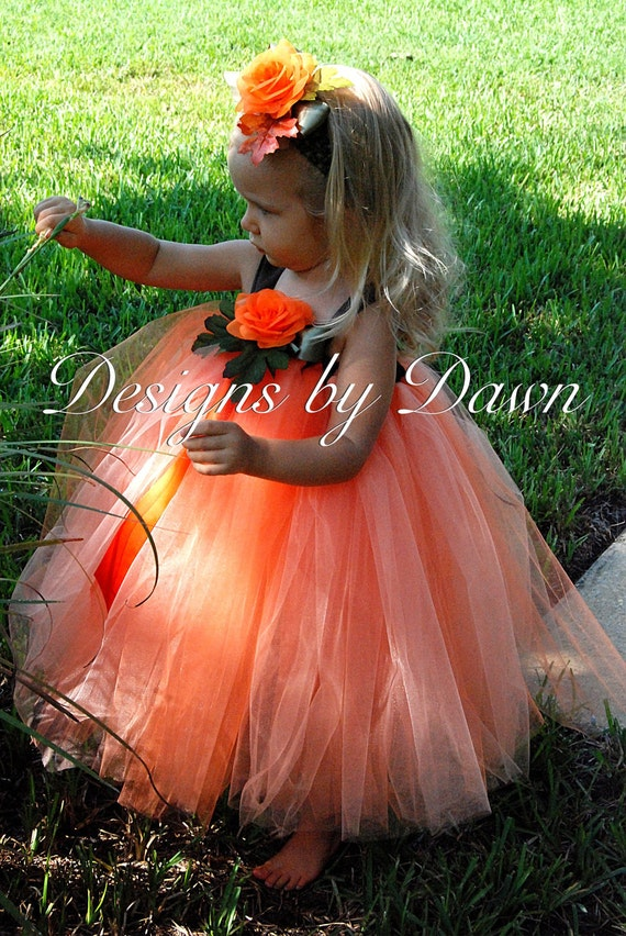 Custom Made Orange and peach Pumpkin Dress. Includes tutu dress and hairpiece. Size 6m-5T Custom sizes and colors available
