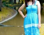 "Hand Dyed Sleeveless Dress Women Blue  Gift 10% Coupon Code ""SiamHandMade"""