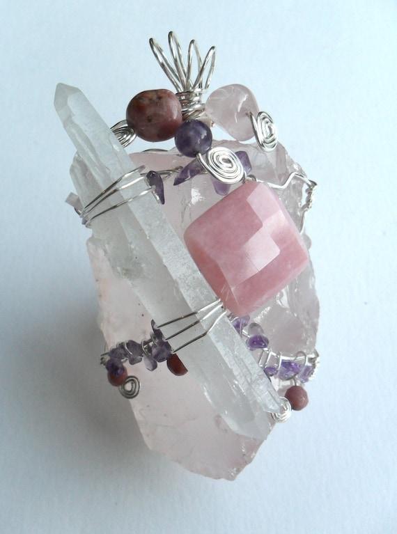 Love...A True Story - Rose Quartz, Amethyst, Pink Opal, Rhodochrosite, double terminated Quartz