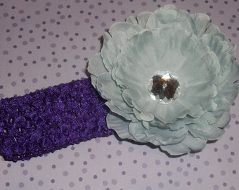 Purple Crochet Waffle Headband for Infant Girl OR Toddler Flower Hairclip with Rhinestone Embellishment in Purple and Gray
