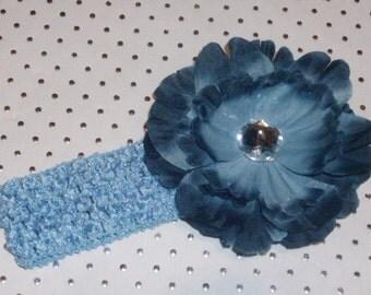 Crochet Waffle Headband for Infant Girl OR Toddler Flower Hairclip with Rhinestone Embellishment in Denim Blue