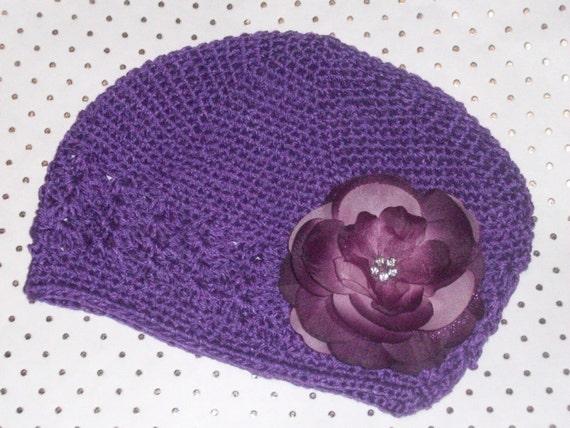 Childrens Toddler Beanie Kufi Hat with Rhinestone Flower Clip Purple