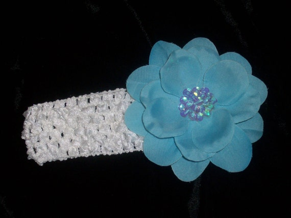 White Crochet Waffle Headband for Infant Girl OR Toddler and Flower Hairclip with Sequin Embellishment Turquoise