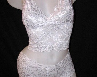 White Lace Camisole and Panty Set