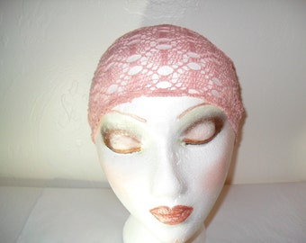 Lacy Open and Airy Head Band, Partial Head Scarf, Adjustable