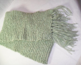 Fuzzy Sage Green, Long and Skinny Scarf