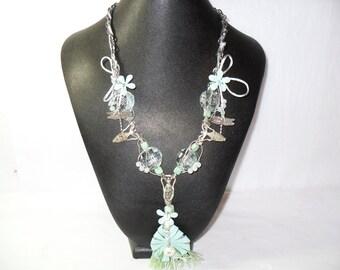 Ice Goddess, Mixed Media Necklace