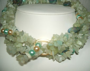 3 - Strands Of NEW JADE  Convertible NECKLACE