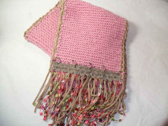 Lovely MERINO Wool, Decorated Scarf
