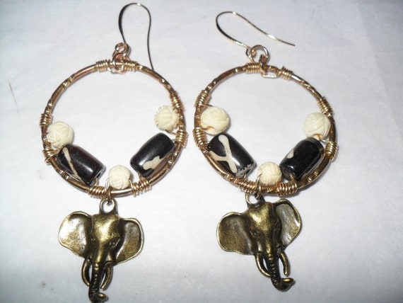 Brass Metal Earrings, Wire-wrapped, Carved Bone, 'Out of Africa 2012'