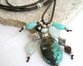 Gemstone Bundle Necklace:  Turquoise & Amazonite, brown czech glass