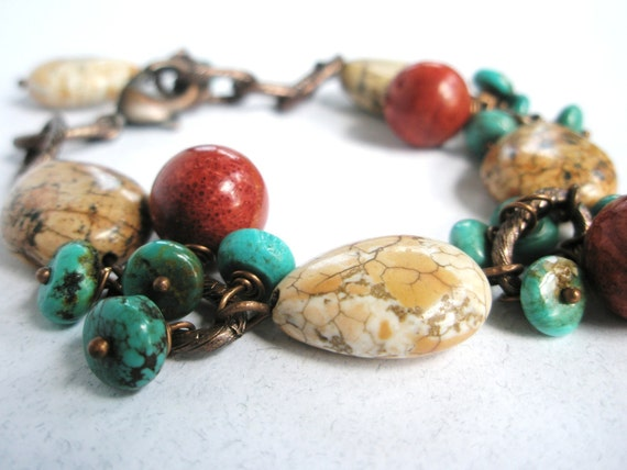 Turquoise Bracelet, Genuine Turquoise, White Turquoise Howlite, Red Bamboo Coral and Antiqued Copper
