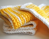 Yellow Knitted Wash Cloth - 100% cotton yellow & white Valentines