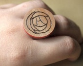 Wooden Burnt Pyrography Art Deco Flower Adjustable Ring Jewelry Red