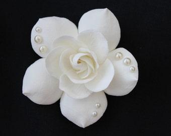 Ivory Gardenia Hair Flower with SW pearls