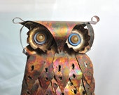 Vintage Hand Crafted Copper Owl with Button Eyes