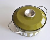 Reserved for joom /// Olive Green // Pea Green and White Cathrineholm Lotus Pattern Pot with Lid and Handles