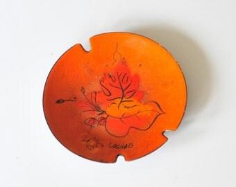 Vintage Orange and Black Sascha B Enameled Hand Painted Ashtray Bowl, Trinket Dish, Sascha B Blastoff Mid Century Modern Orange Enamelware