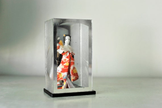 Delicate Tiny Vintage Made in Japan Geisha Doll in Glass Case