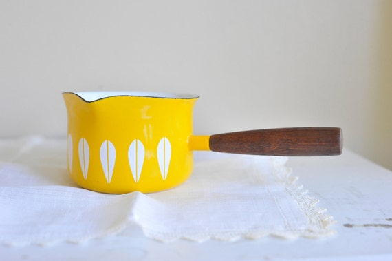 Vintage Yellow and White Lotus Cathrineholm Butter Warmer / Melter / Small Pan / Sauce Pan