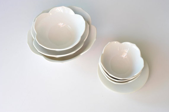 Set of Three White Nesting Porcelain Lotus Bowls