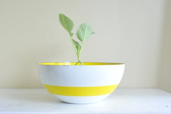 "Vintage HUGE Cathrineholm 11""  White with Yellow Band Enamel Bowl"