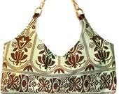 """Handbag,  Morocco inspired, aqua and brown cotton, """"Morocco"""""""