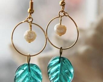 Earrings, aqua blue Indian glass leaves and Fresh Water Pearls inside gold hoops