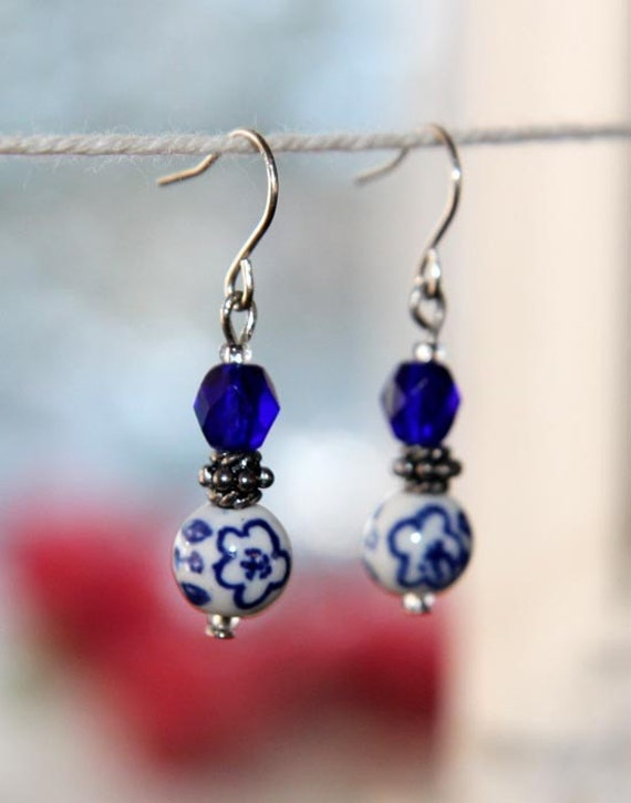 Earring, striking blue and white porcelain beads