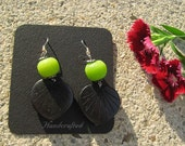 Green Glass and Wood Earrings