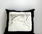 SALE - Pillow with a sketch of Monroe Street Bridge
