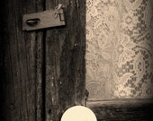 IN STOCK, 50% OFF - 5x7 Volcano Door Lace Photograph - old wood lock country black white gray brown sepia art print decor photo photography