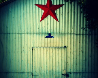 Plymouth Star Photograph, Country Home Decor, Barn Art, Red Blue Teal Aqua Wall Decor, Rustic Shed Photo