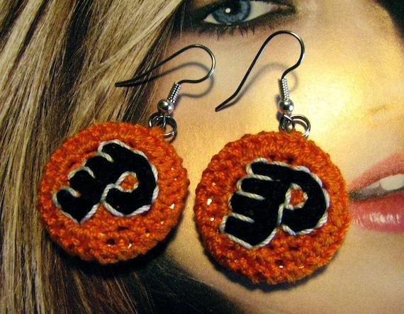 Small Phillies Flyers Earrings - Orange, Black, White