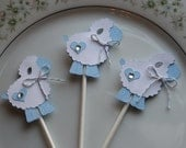 24 Little Blue Lamb Cupcake Toppers, Baby Shower Favor