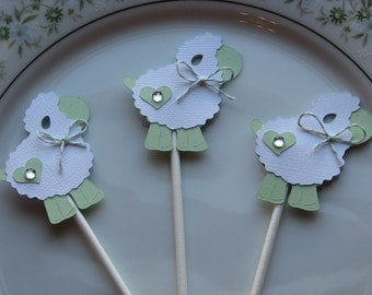 24 Little Pale Green Lamb Cupcake Toppers, Baby Shower Favor