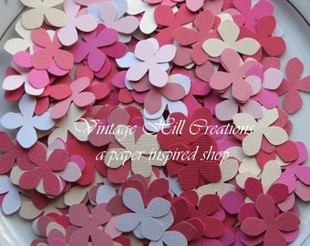 500 Hand Punched Hydrangea Flower Confetti -Pinks- Die Cut Punch Embellishment