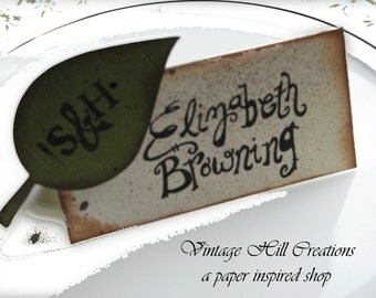 200 Wedding Placecards, Escort Cards -CUSTOM - Vintage Leaf