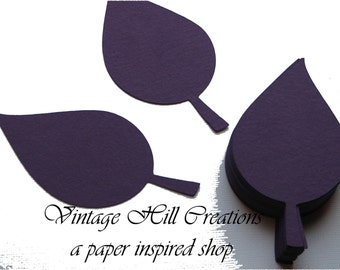 200 Paper Apple Leaf -Leaves- 5 inch- Eggplant Purple Wedding - Place Card, Escort Card, Die Cut Tags
