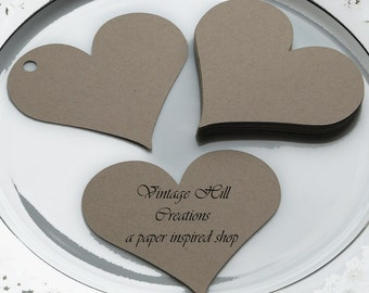 200 Paper Hearts-  Kraft  - Wedding Place Card, Escort Card, Die Cut Tags