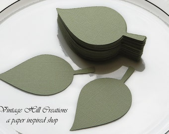 50 Paper Leaf - Apple Leaves- Pear - Place Card, Escort Card, Die Cut Tags