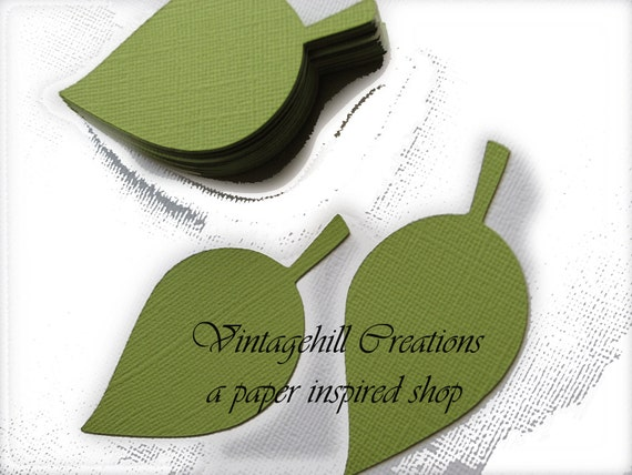 200- 4 inch- Paper Leaf - Apple Leaves -Parakeet- Green, Wedding Place Cards- Escort Card tags